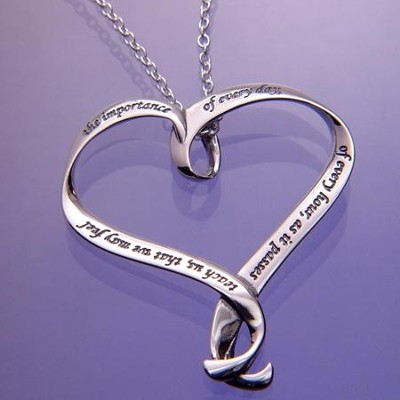 Teach Us, Sterling Silver Heart Necklace  -     By: Jane Austen