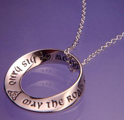 Saint Patrick's Irish Blessing, Sterling Silver Mobius Necklace  -