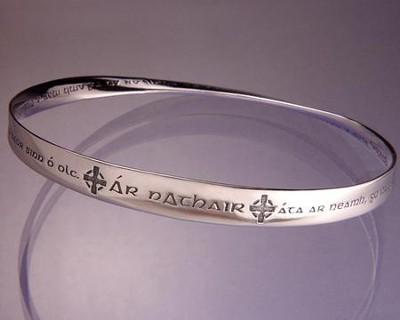 The Lord's Prayer, Gaelic, Sterling Silver Mobius Bracelet   -