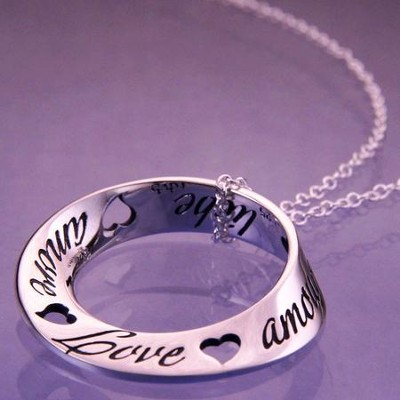 Love In Ten Languages, Sterling Silver Mobius Necklace  -