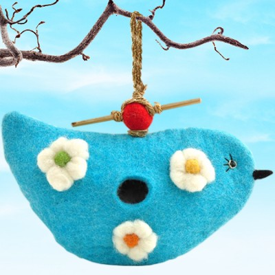 Felt Birdhouse Bluebird, Fair Trade Product  -