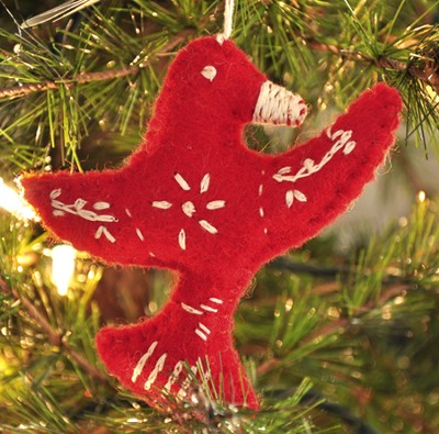 Snowflake Peace Dove Ornament, Red, Fair Trade Product  -