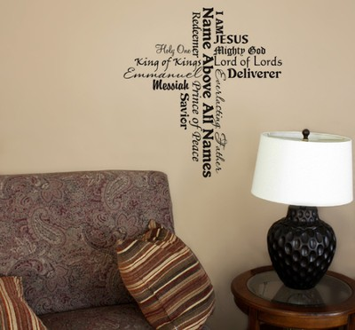 Vinyl Wall Expression, Cross, Names of Jesus  -