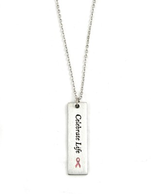 Pink Ribbon, Celebrate Life Pendant  -