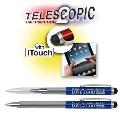 Telescopic Pen with Touch Screen Stylus, Blue  -
