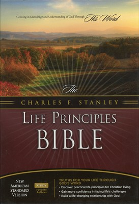 NASB Charles F. Stanley Life Principles Bible - Genuine Leather Black - Slightly Imperfect  -