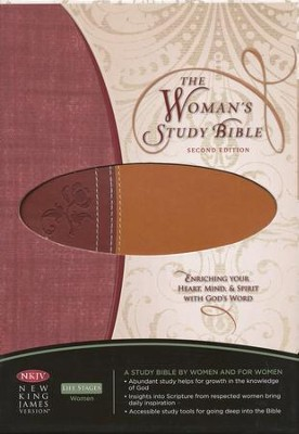 NKJV Woman's Study Bible, Second Edition, LeatherSoft - Chestnut Brown/Burgundy  -