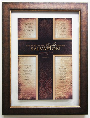 Salvation Psalm 27:1, Wall Art Framed Cross   -