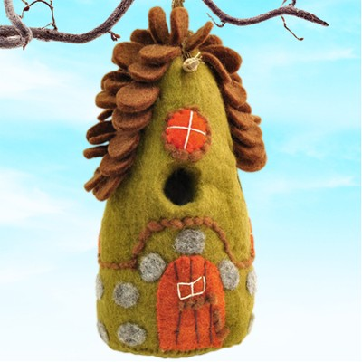 Felt Birdhouse Forest House, Fair Trade Product  -