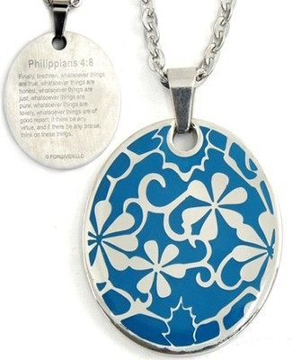 Flowers Pendant, Blue, Phil. 4:8   -