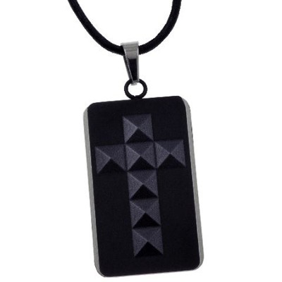 Cross Tag Pendant, Black  -