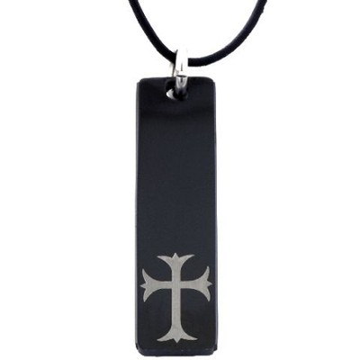 Tag Cross Pendant, Black  -