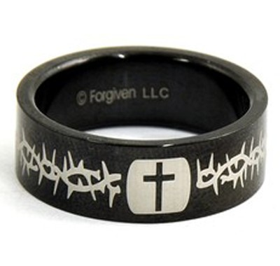 Cross and Thorns Ring, Black, Size 12  -