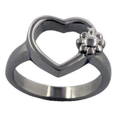 Open Heart with Flowers Ring, Size 6  -