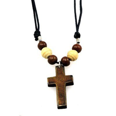 Wood Beads with Bone Cross Pendant  -