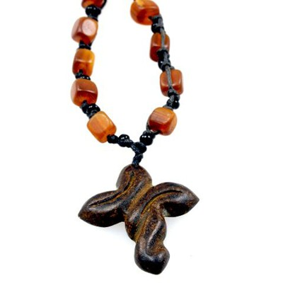 Horn Beads Cross Pendant  -