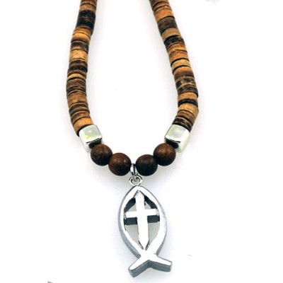 Wood Beads with Fish Cross Pendant  -