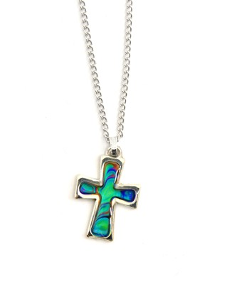 Mood Cross Necklace, Silver Edge  -