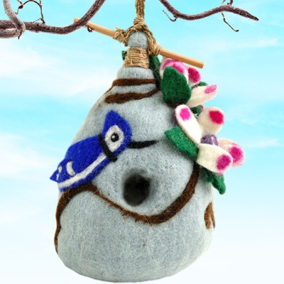 Felt Birdhouse Bluejay, Fair Trade Product  -
