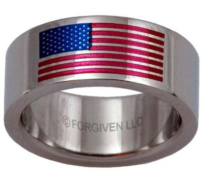American Flag Ring, Silver, Size 7  -