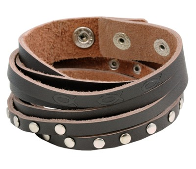 Ichthus and Silver Stud Wrap Bracelet  -