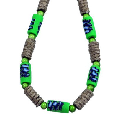 Three Crosses Beaded Necklace, Green  -