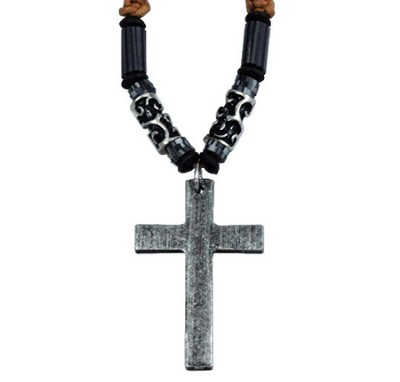 Jute Beaded Pendant, Black, with Metal Cross  -