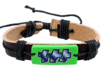 Graffiti Style Crosses Adjustable Bracelet, Green   -