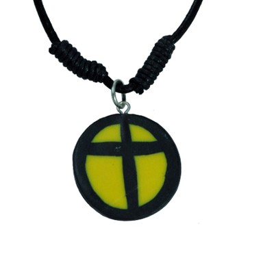 Clay Cross Pendant, Yellow and Black  -