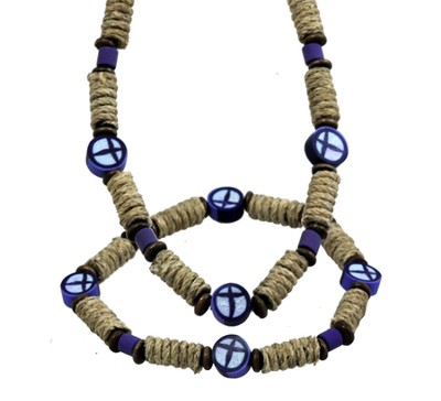 Clay Cross Necklace and Bracelet Set, Blue and Black  -
