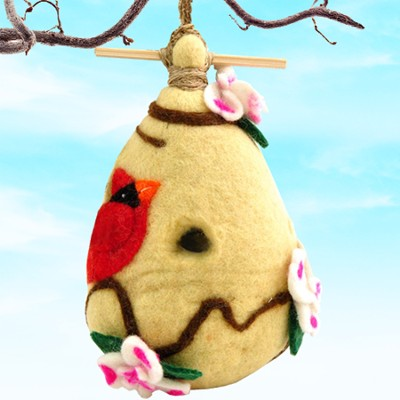 Felt Birdhouse Dogwood and Cardinal, Fair Trade Product   -