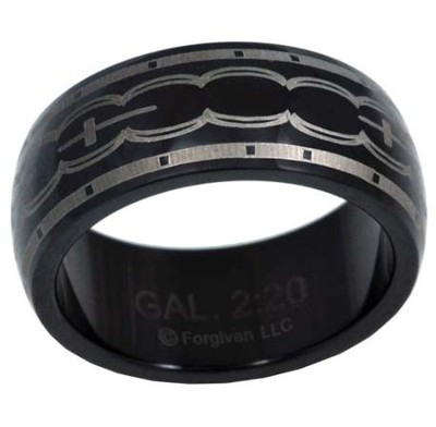 Scallop Cross Ring, Black, Size 12   -