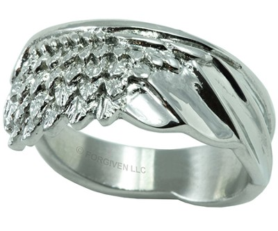 Wing Ring, Silver, Size 8  -