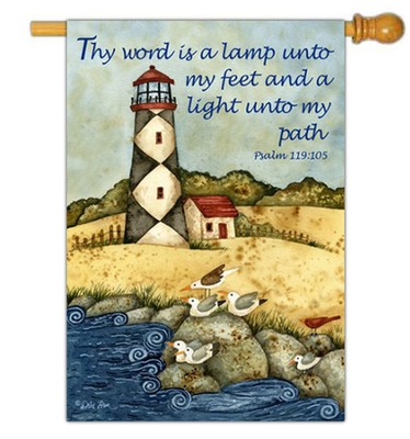 Thy Word is a Lamp Unto My Feet Flag, Large  -     By: Debi Hron