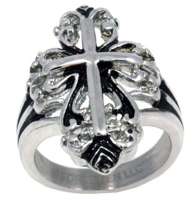 Fancy Cross Ring, Silver, Size 9  -