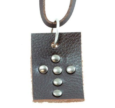 Studded Cross Tag Pendant  -