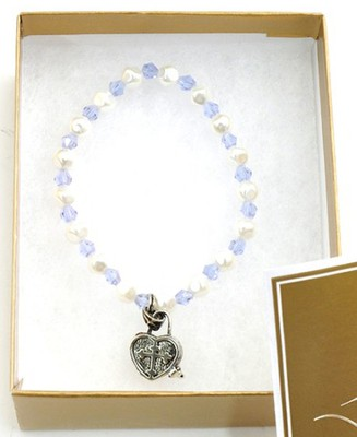 Prayer Box Cross Child Bracelet, December, Light Blue   -