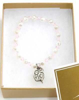 Prayer Box Cross Child Bracelet, June, Light Pink   -