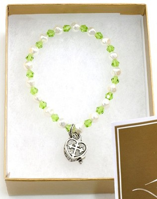 Prayer Box Cross Child Bracelet, August, Peridot   -