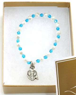 Prayer Box Cross Child Bracelet, March, Aquamarine   -