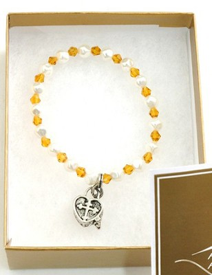 Prayer Box Cross Child Bracelet, November, Topaz   -