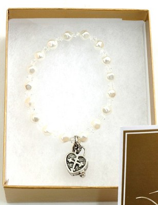 Prayer Box Cross Child Bracelet, April, Crystal   -