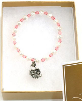 Prayer Box Cross Child Bracelet, October, Dark Pink   -