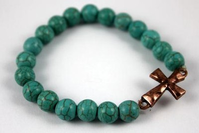 Hammered Cross, Turquoise Beaded Bracelet  -