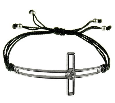 Silk Cord Side-Cross Bracelet, Black  -