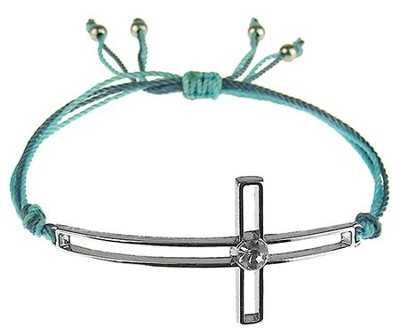 Silk Cord Side-Cross Bracelet, Blue, Aqua  -