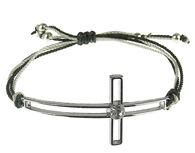 Silk Cord Side-Cross Bracelet, Black, Gray  -
