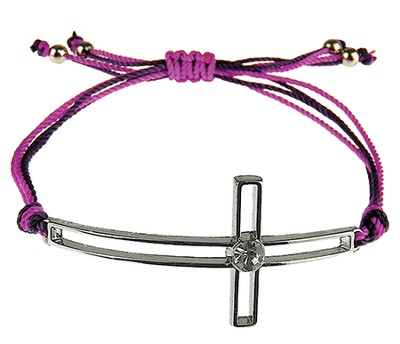 Silk Cord Side-Cross Bracelet, Purple, Brown  -