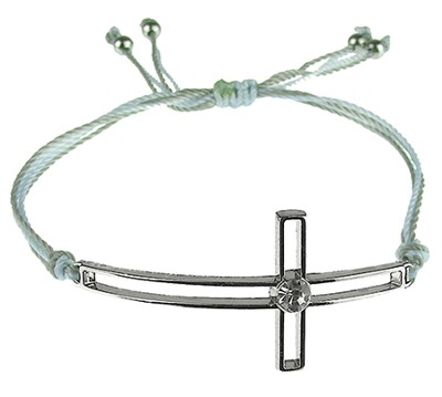 Silk Cord Side-Cross Bracelet, Gray, Light Blue  -