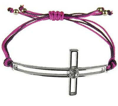 Silk Cord Side-Cross Bracelet, Purple, Hot Pink  -